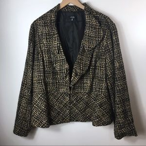 Rafaella Black and Brown Tweed Blazer, 3X